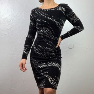 Caché black fitted leopard print sparkle dress XS